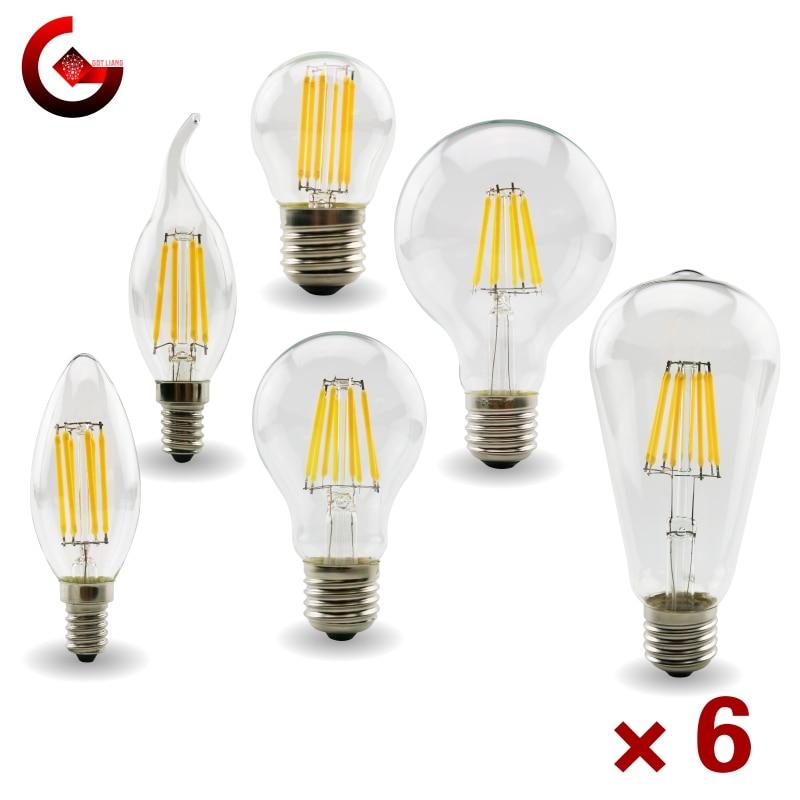 Светодиодная лампа Эдисона в стиле ретро, 6 шт./лот, E27, E14, 220-240 В переменного тока, C35, G45, A60, ST64, G80, G95, G125