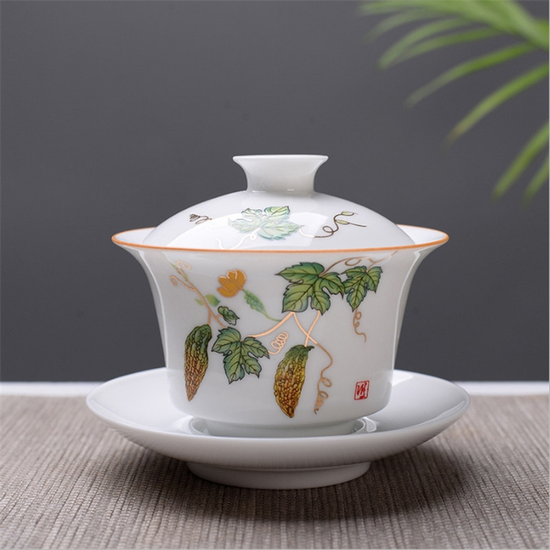 Juego de té de hueso blanco China Gaiwan de alta calidad, tetera de Kung fu, juego de té de cerámica de viaje, taza de porcelana China Gaiwan