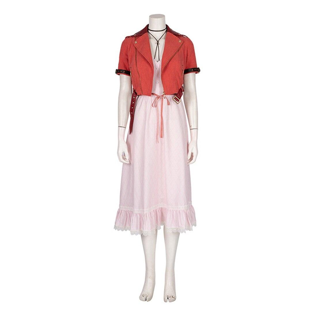 Disfraz de Cosplay de Aerith, conjunto completo para mujer, moda femenina, pelucas de fiesta de navidad, regalos de cumpleaños, XXXL XXL XL L M S