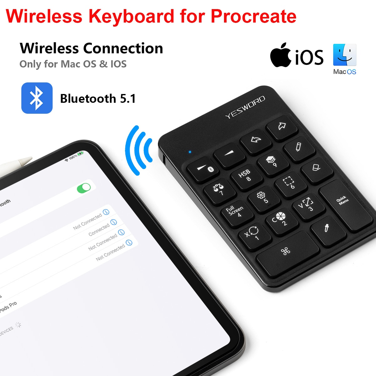 Беспроводная клавиатура YESWORD для Procreate, Bluetooth клавиатура для рисования для iPad, графические планшеты, живопись, 6,5*5,5 дюймов, перезаряжаемая