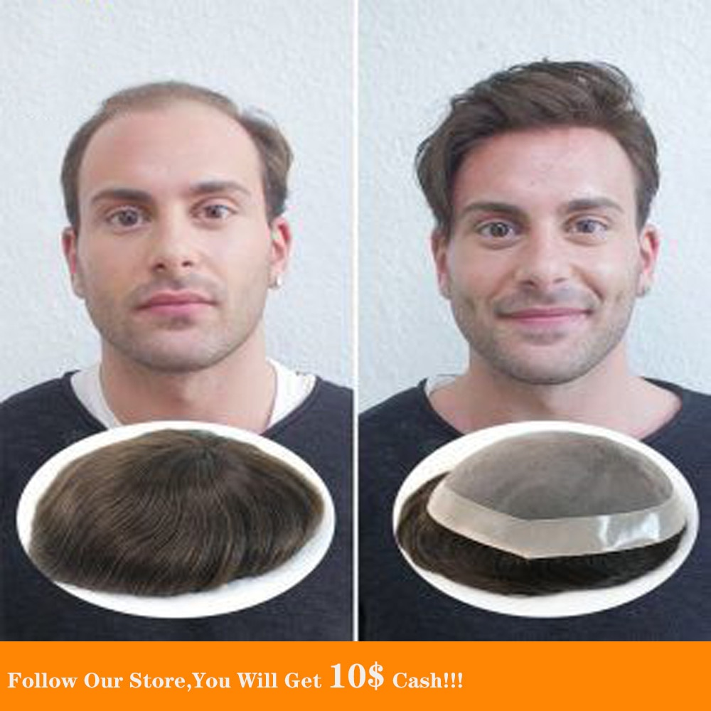 BYMC Black and Brown Natural Mens Toupee Swiss Lace Front Indian  Human Hair Replacement System Fine Mono Hairpieces Wig for Men