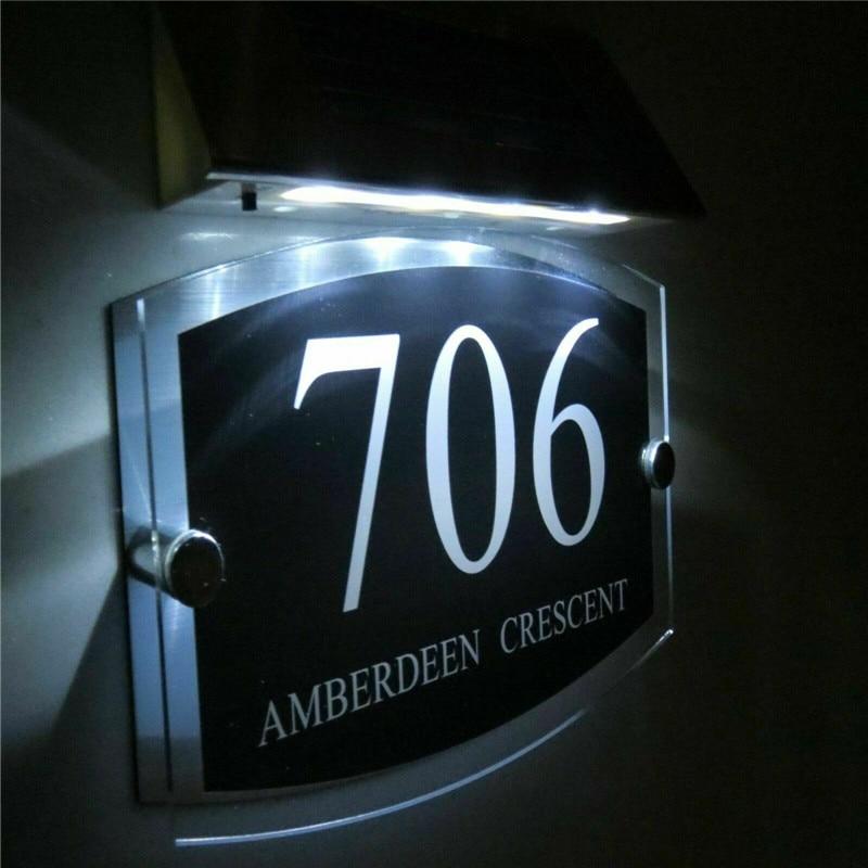 Modern Solar House number apartment number door signs door House Sign Plaque Door Number 1-9999 Street Name LED
