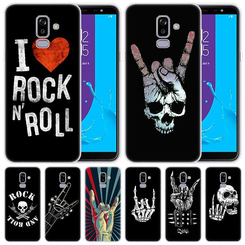 Funda de silicona suave de lujo Rock roll skull para Samsung Galaxy J8 J7 J6 J4 J2 2018 Core J3 2016 J5 cubierta principal 2017 EU J4 Plus J7