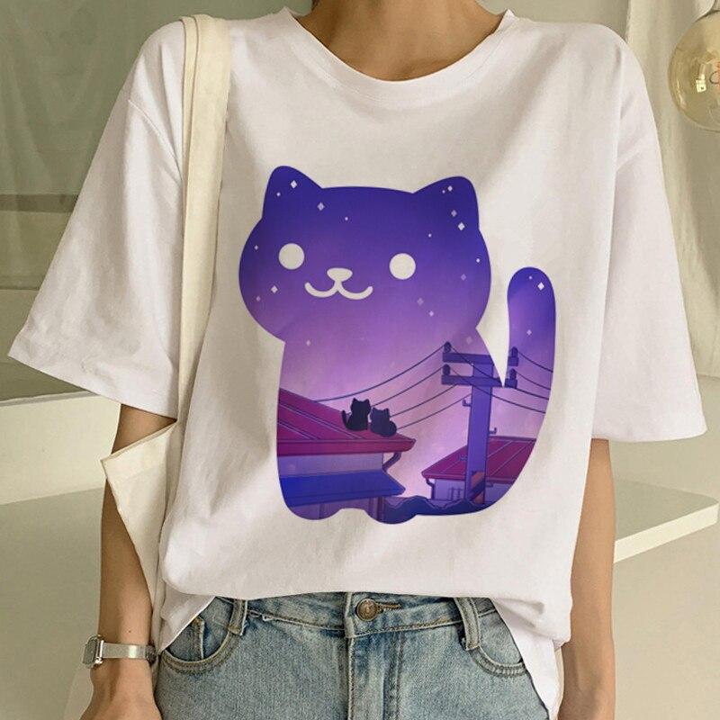 Camiseta feminina estampa desenho animado, camisetas femininas manga curta casual ulzzang kawaii harajuku camisetas vintage
