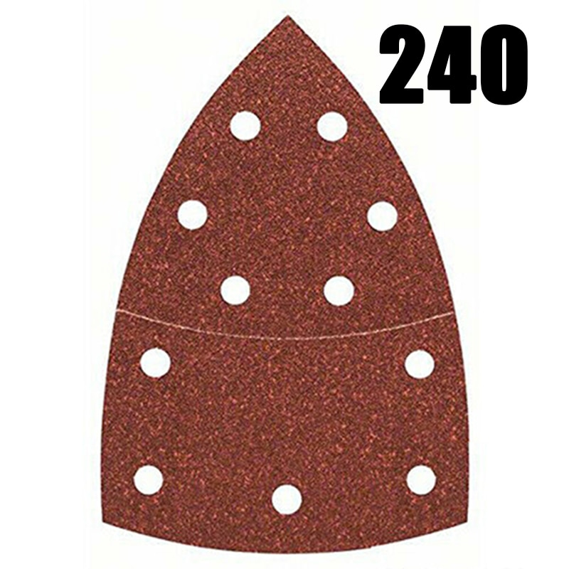 10 Uds hoja Sandpapers 240Grit herramientas parte Bosch PSM 100A Palm Sander