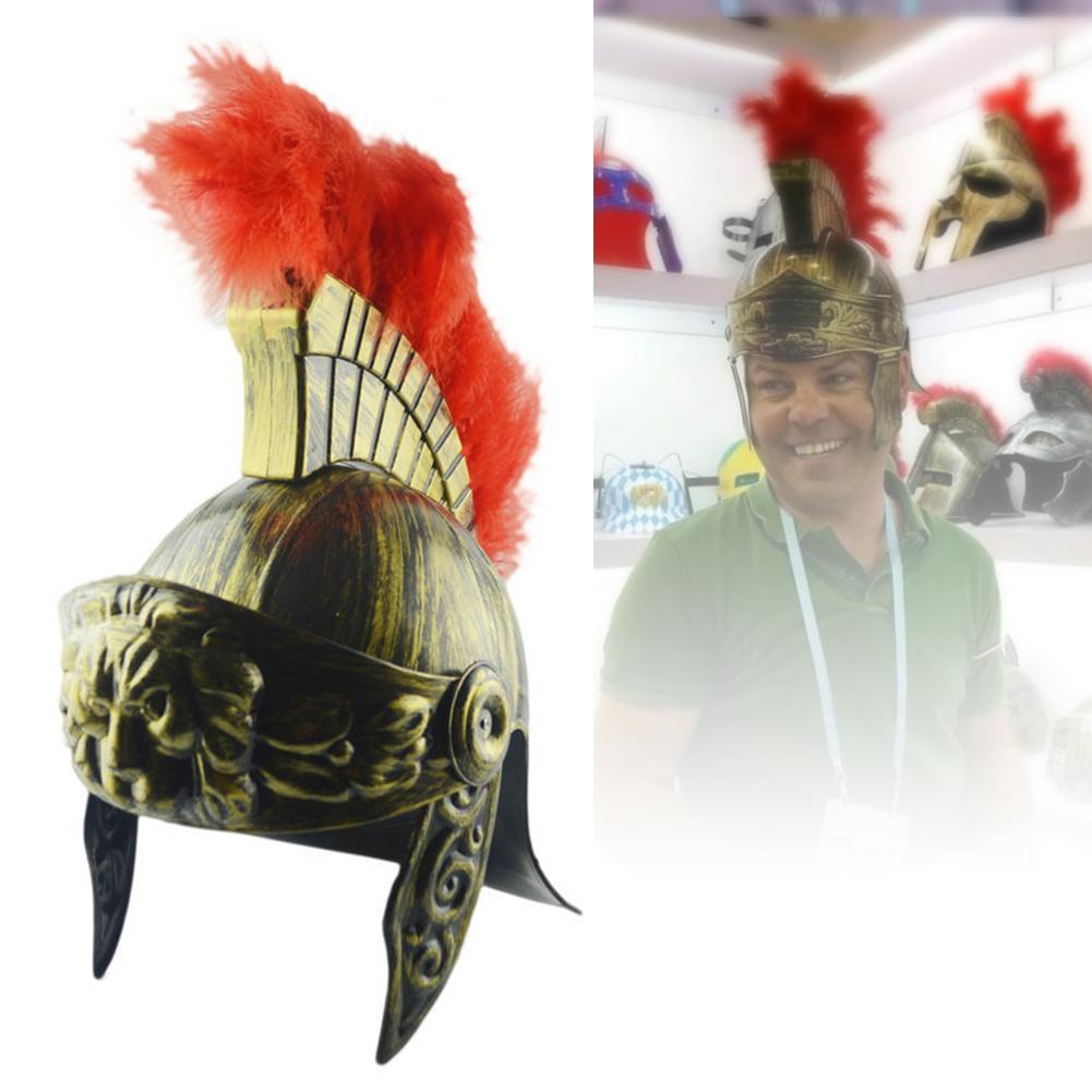Guerrero Medieval Cosplay Spartan sombrero máscara casco Spartan Warrior sombrero plástico romano sombrero Spartacus Samurai sombrero con pluma