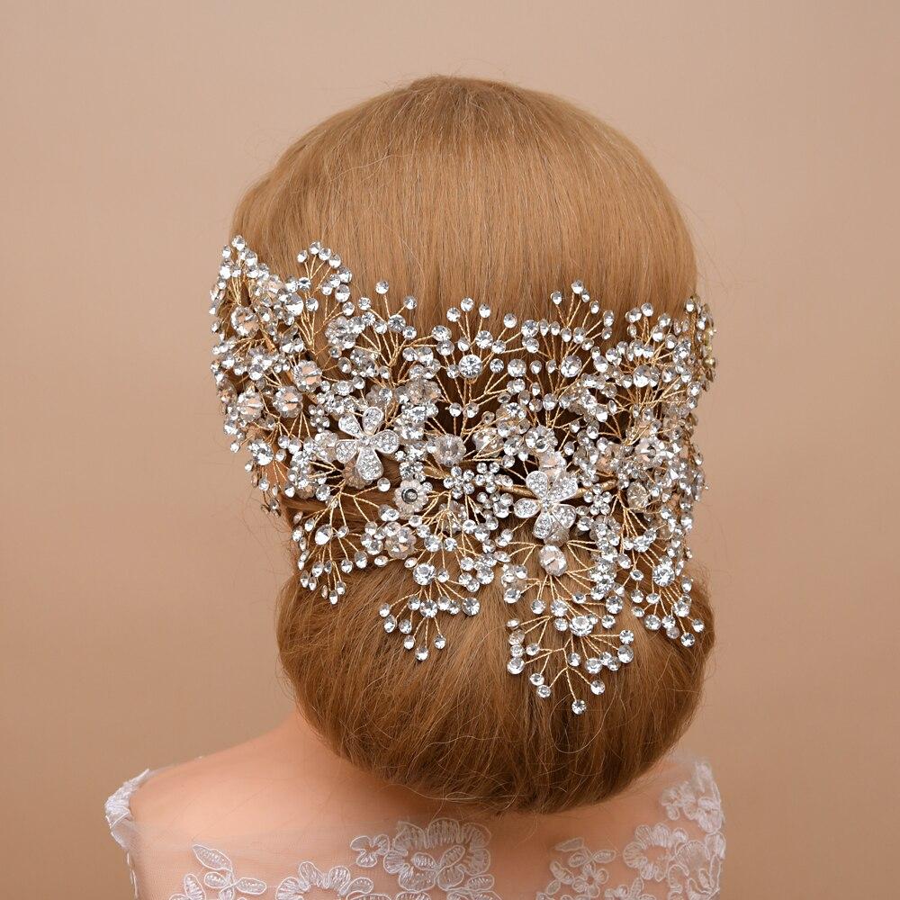الفضة الذهبي الزفاف الشعر مجوهرات الزفاف كريستال الشعر الحلي حجر الراين اكسسوارات للشعر تاج الزفاف و تاج فخم