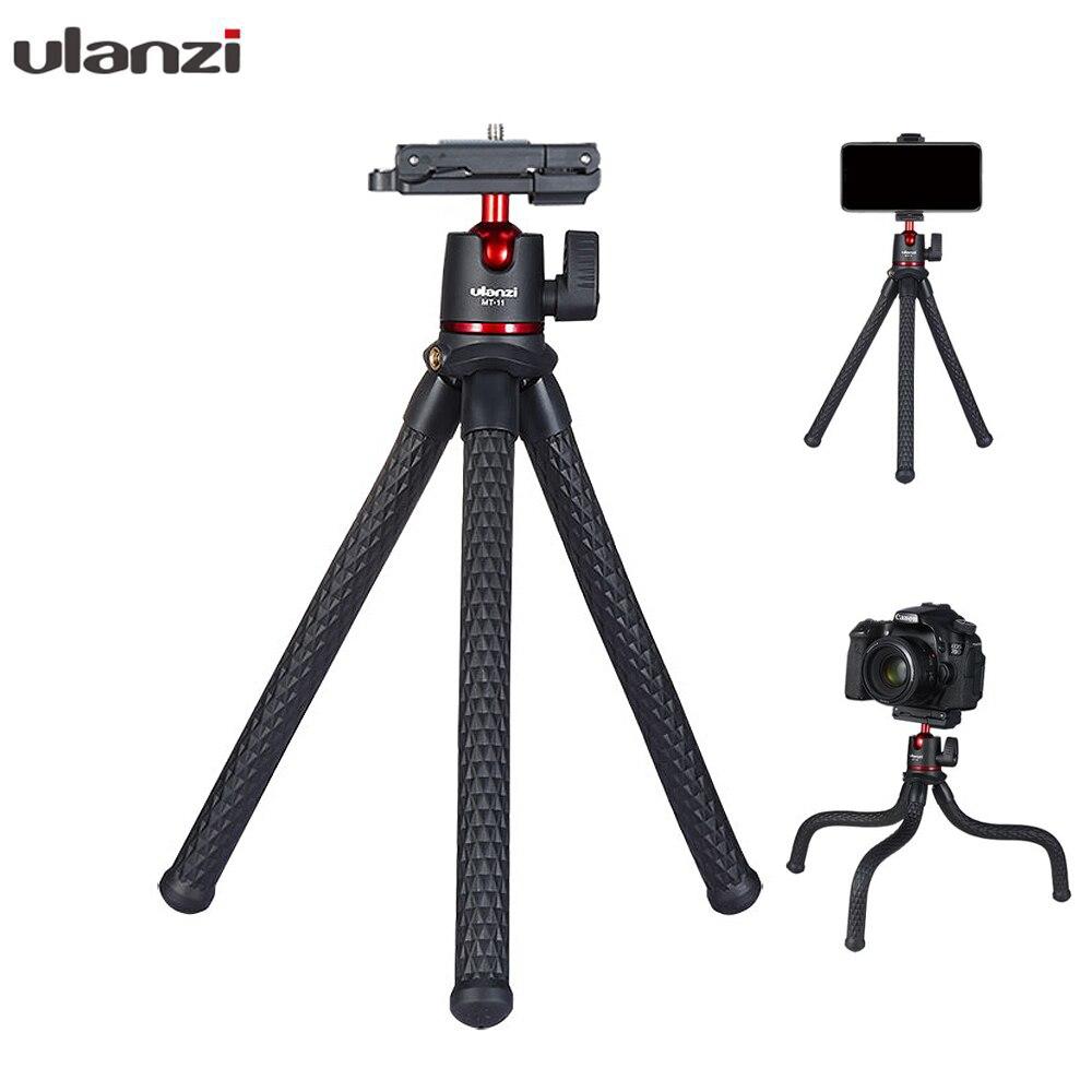 Ulanzi MT-11 pulpo Flexible de 1,2 KG de carga útil negro trípode con 2 en 1 Clip de teléfono para cámara DSLR Smartphone teléfono móvil Trípodes para teléfono