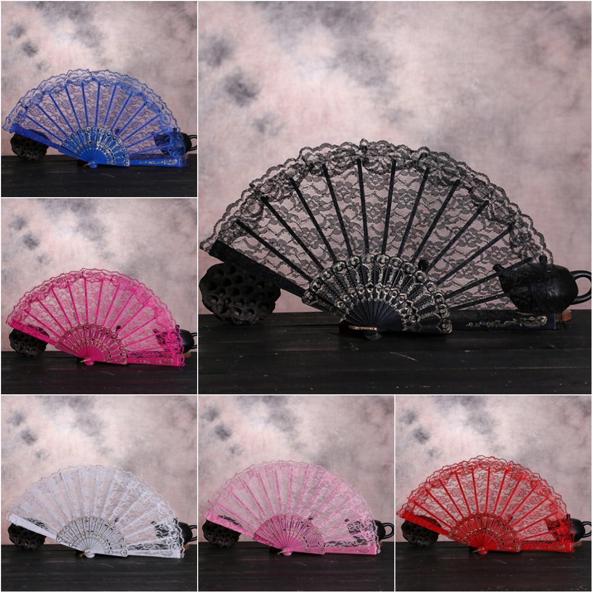 Ventilador dobrável dança festa de casamento decoração ventilador plegable fãs folding fã flor do vintage estilo chinês laço mão