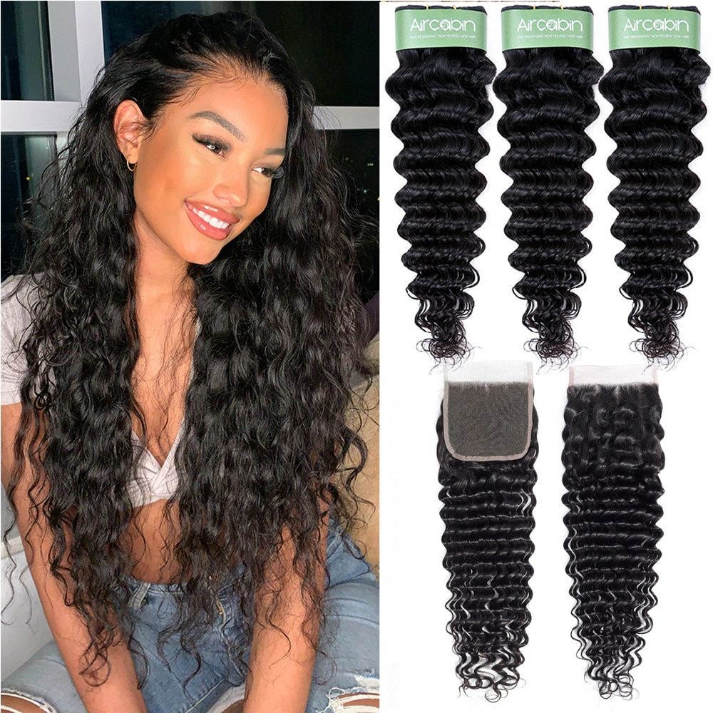 Aricabin Malaysian Deep Wave Hair Bundles With Closure Remy Human Hair Extension Deep Curly Wave 3/4 Bundles With Lace Closure