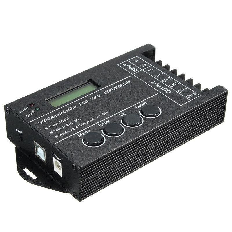 TC420 Zeit programmierbare RGB LED Controller DC12V-24V 5 Kanal LED Timing dimmer