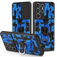 armor phone case for samsung galaxy note s21 plus ultra 20 s20 rugged camouflage push window ring bracket protection back cover