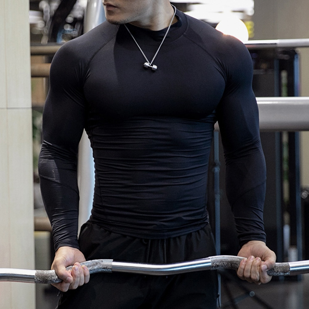 2020 Fitness T-Shirts Compression  Tshirts Workout Quick Dry Fit Sport Gym Clothing Running Long Sleeve T Shirt Men недорого