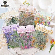 Mr.paper 6 Designs Flowers Series Deco Die Cutting Diary Stickers Scrapbooking Planner Bullet Journal Deco Stationery Stickers