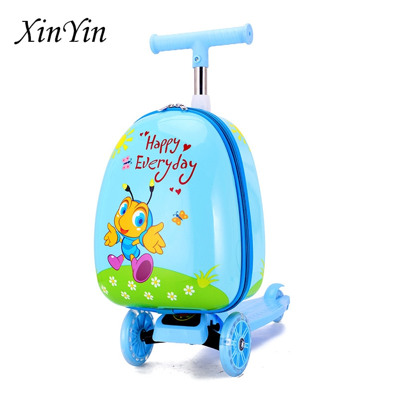 الكرتون لطيف طعم سكوتر للأطفال حقيبة عيد الميلاد هدية صغيرة كسول حقيبة العربة في الهواء الطلق السفر الأمتعة الحقائب المدرسية للأطفال