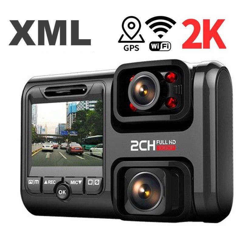 2K 2160P WIFI GPS cámara de salpicadero lente Dual Dvr de visión nocturna para coche Dashcam cámara de coche Grabación en bucle Dvr Sony Sensor grabadora videocámara