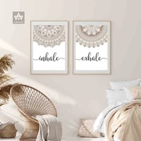 inhale exhale mandala art prints abstract quotes poster burnt orange art calligraphy wall pictures yoga paintings canvas decor