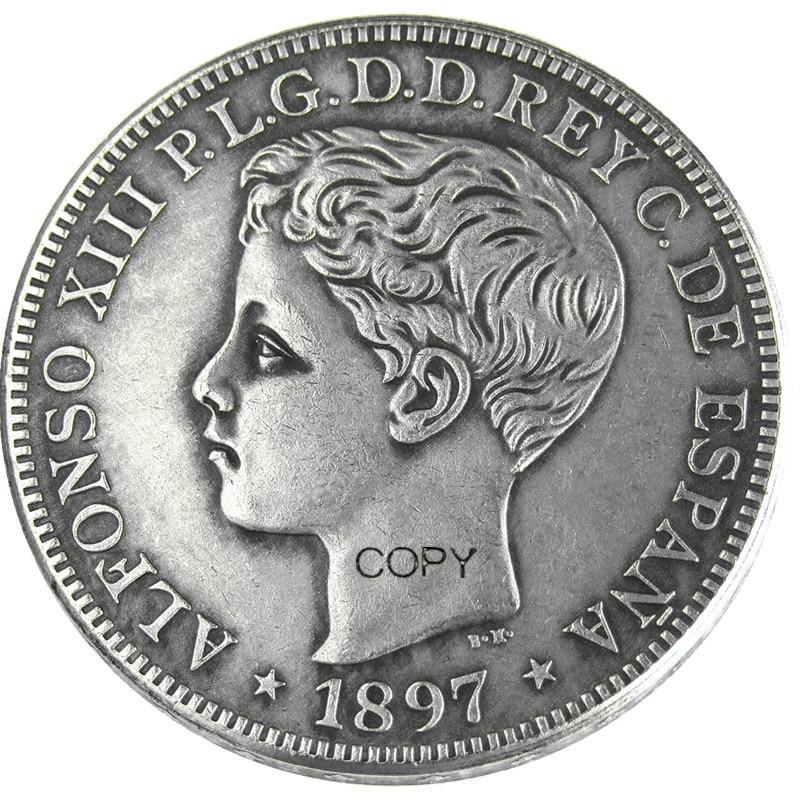 Puerto rico 1897, 1 Peso, monedas chapadas en plata