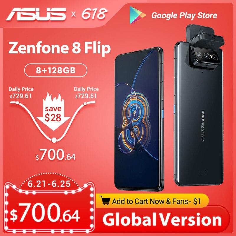 Глобальная версия Оригинальный ASUS Zenfone 8 флип 2021 Snapdragon 888 8 Гб Оперативная память 128/256 ГБ Встроенная память 1080p 5000 мАч Android OTA 5G для мобильного т...