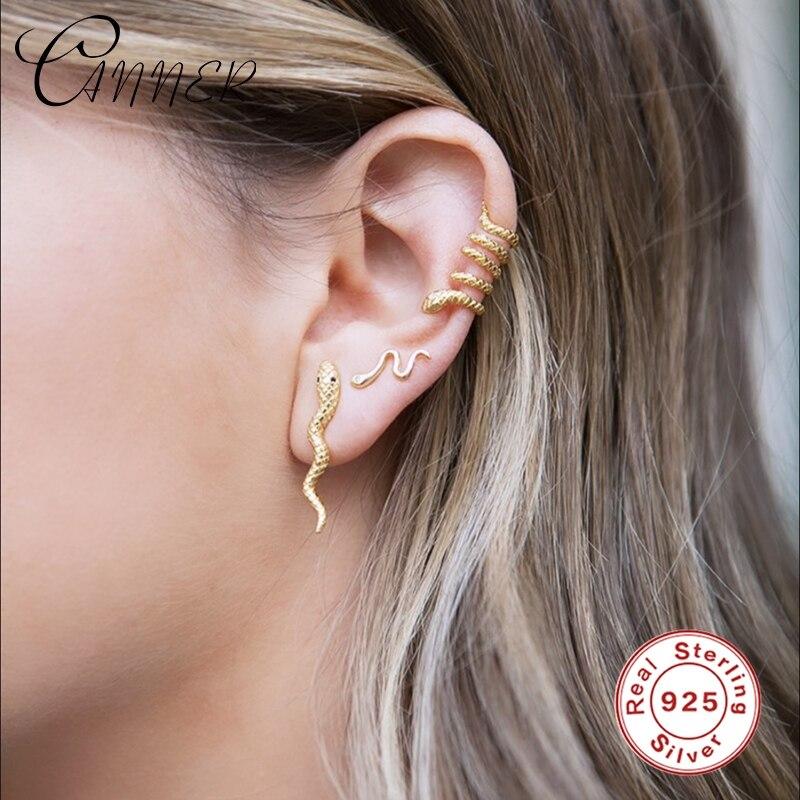 CANNER Plata de Ley 925 auténtica, bonita serpiente europea y americana, pendientes para mujer, pendientes para Piercing, joyería fina, pendientes