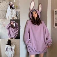 bunny hoodie spring and autumn korean style loose long sleeve top women hooded sweatshirt ty66