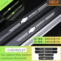 for chevrolet car luminous door threshold strip accessories 4pcs car styling threshold pedal protector carbon fiber stickers