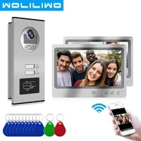 9 inch wifi video intercom 2 apartments with rfid ir doorbell camera home security remote unlock smart phone real time control