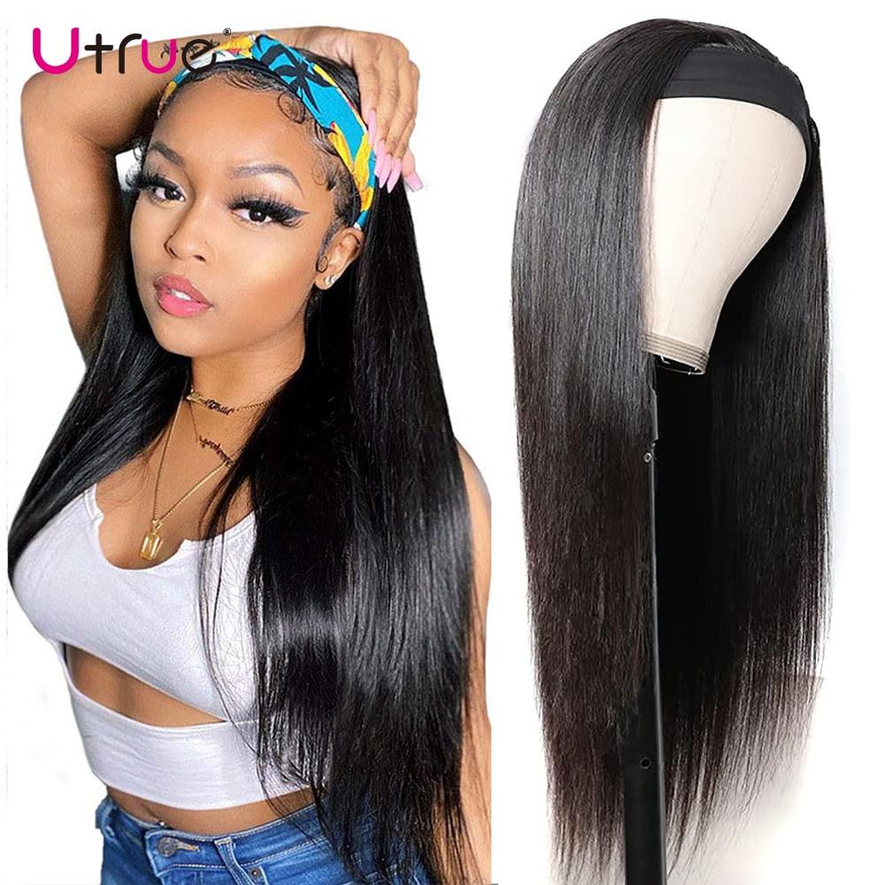 Bone Straight Human Hair Wig Headband 30 Inch Glueless Brazilian Hair Free Shipping Natural Hair Wigs For Black Women