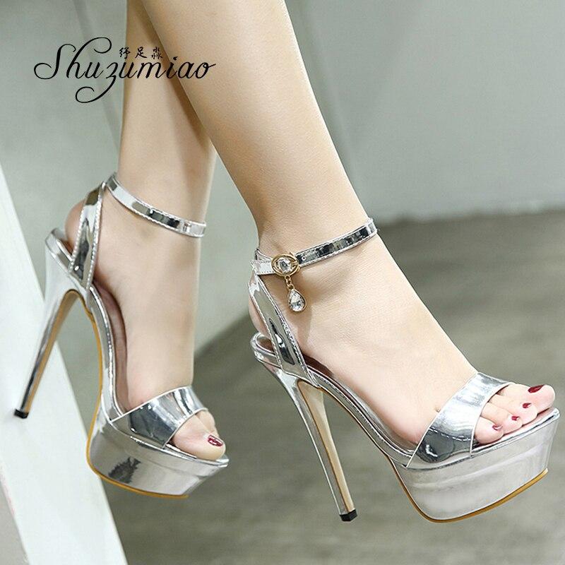 Shuzumiao scarpe da donna nuovi prodotti fibbie estive sandali SexyToe Nightclub 14cm scarpe da donna impermeabili Super alte