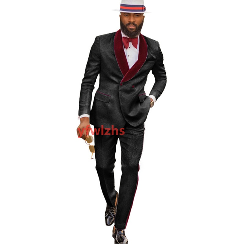 New Arrival Embossing Groomsmen Shawl Lapel Groom Tuxedos Men Suits Wedding/Prom Best Blazer ( Jacket+Pants+Tie) D12