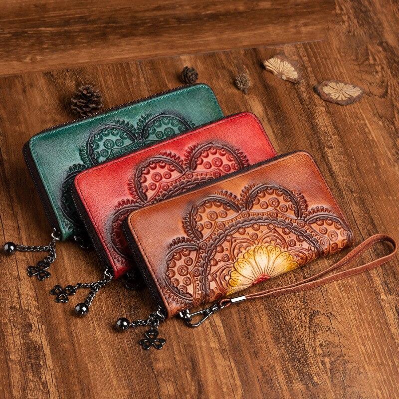 الطبقة الأولى جلد البقر المرأة المحفظة ريترو موضة طويلة محفظة مصنوعة من جلد المرأة حقيبة صغيرة عملة حامل بطاقة المال كليب