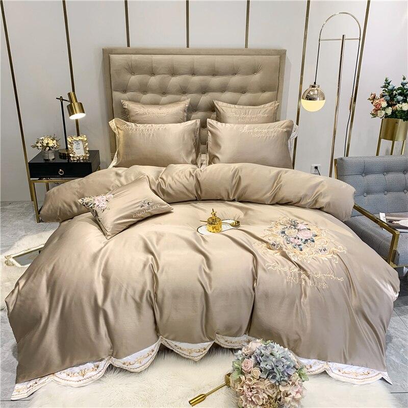 Juego de ropa de cama transpirable suave con bordado de flores color champán funda de edredón de satén SEDA lavada sábana de algodón sábana ajustada fundas de almohada