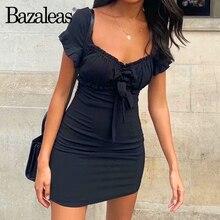 فستان نسائي مزين بفيونكة على شكل فيونكة من baزالدس بفرنسا فستان قصير بأكمام قصيرة أنيق أسود بدون ظهر