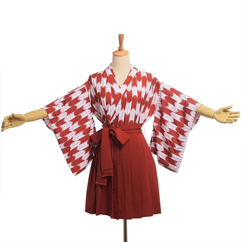 Conjunto de Kimono japonés Hakama para mujeres lindas Haori Top plisado Koinobori Set Cosplay disfraz