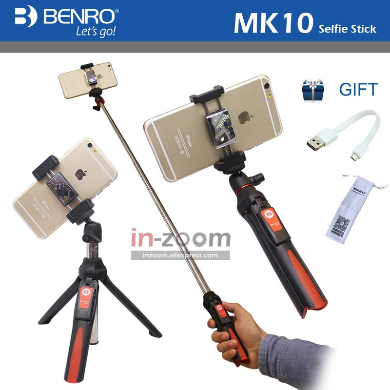 Benro MK10-عصا سيلفي محمولة 4 في 1 مع دعم مباشر وبلوتوث وجهاز تحكم عن بعد لهاتف IPhone GoPro Huiwei MI