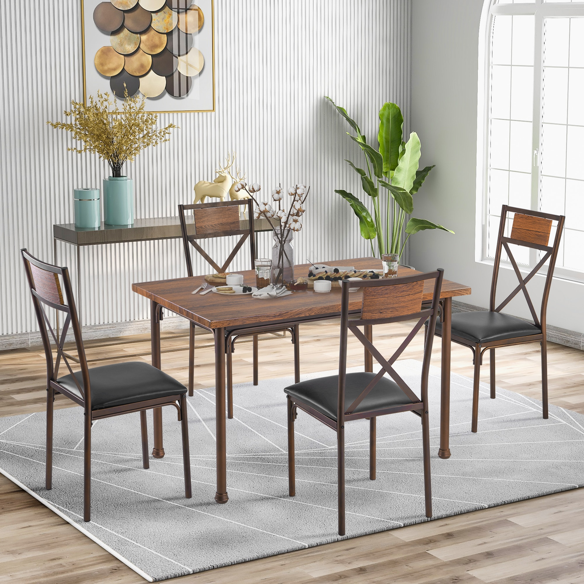 Dining Table Set Living Room Furniture 4 Pieces Chair Restaurant Furniture Modern Home Accessories Fast Shipping 5pcs dining chair set 4 chairs 1 dining table set wooden metal furniture brown black beige home kitchen office furniture