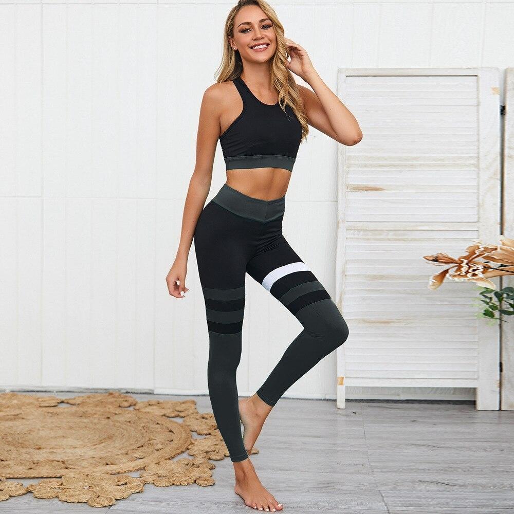 Roupas de Treino Sexy sem Costas Mulheres Yoga Macacão Conjuntos Sutiã Esportivo Treino Fitness Correndo Ginásio Esporte Conjunto