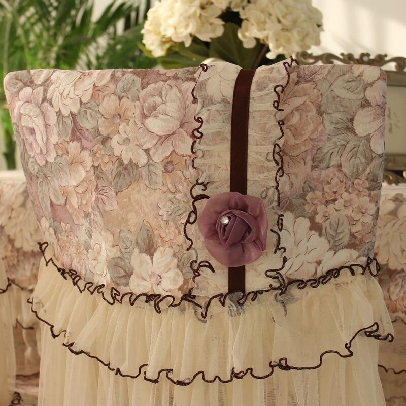 Romantyczne koronkowe krzesło okładka obrus poduszka na krzesło tkanina na pokrowce na siedzenia pokrowce na oparcie krzesła dekoracja wnętrz
