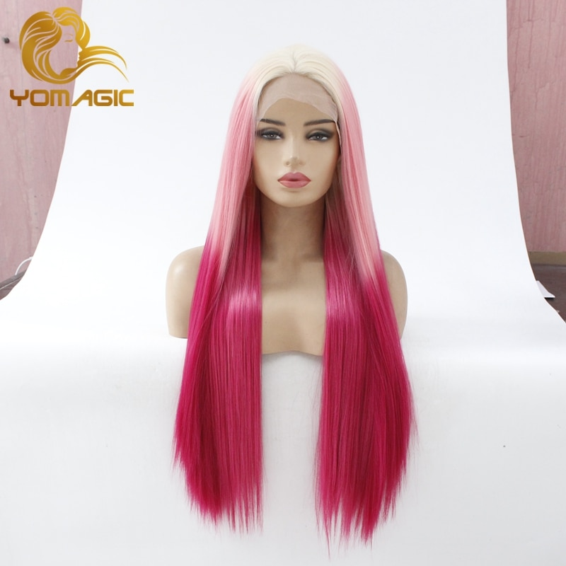 Yomagic Ombre Pink Color Lace Front Wigs with Baby Hair 3 Tones Color Synthetic Hair Glueless Lace Wigs with Natural Hairline