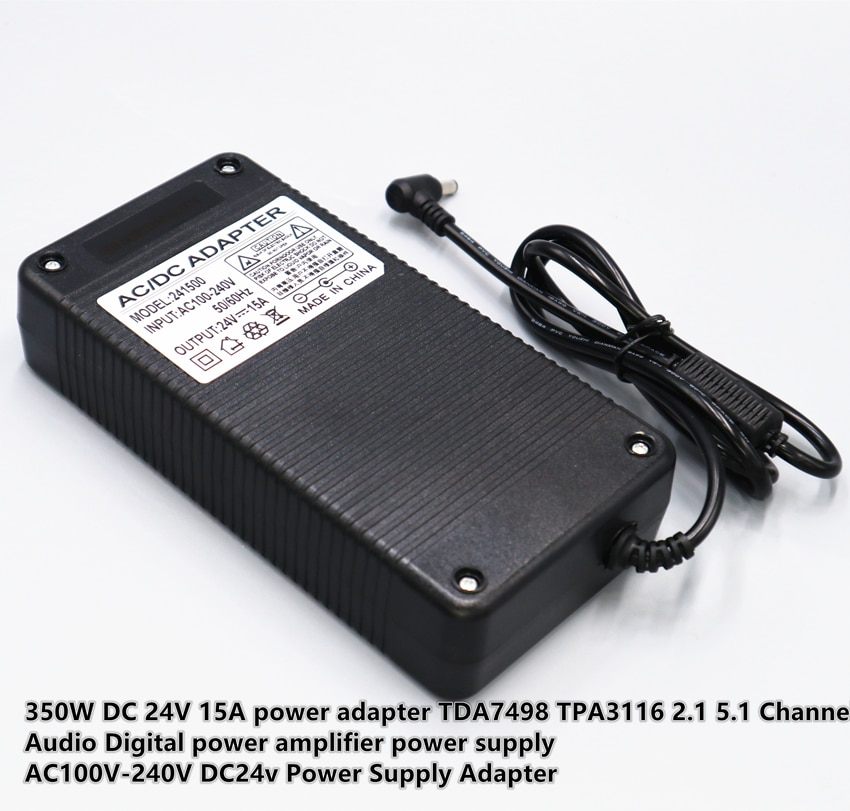 350W DC 24V 15A power adapter TDA7498 TPA3116 2.1 5.1 Channel Audio Digital power amplifier DC24V power supply