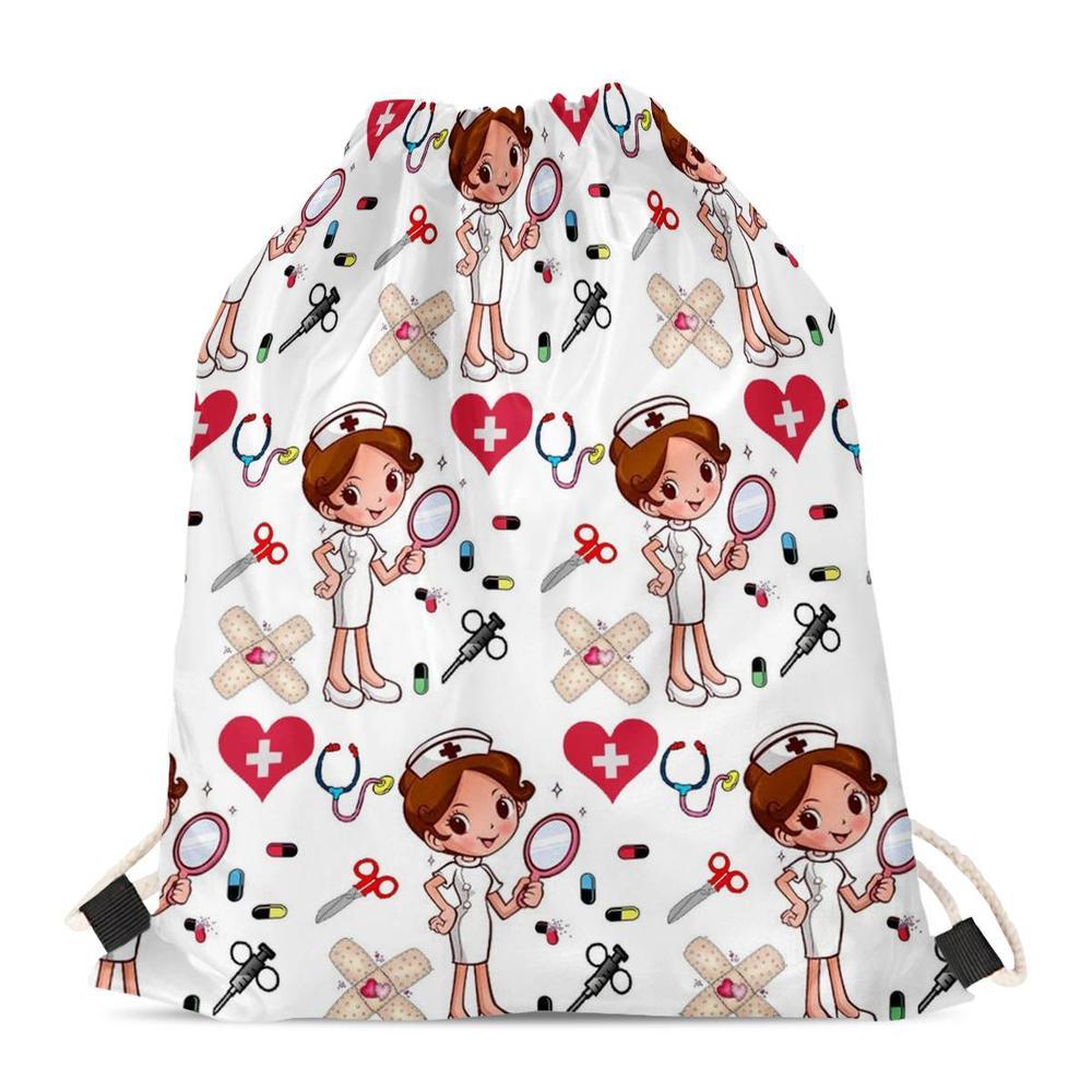 Mochila bolsa con cordón para mujer Casual FORUDESIGNS Impresión de enfermera de dibujos animados viaje Softback almacenamiento moda saco playa Mochila 2019