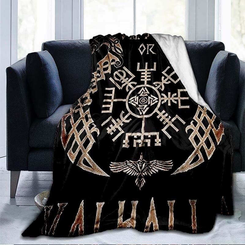 الفايكنج القديمة الاسكندنافية الرونية محاور ثلاثية الأبعاد لينة رمي بطانية خفيفة الوزن الفانيلا بطانية