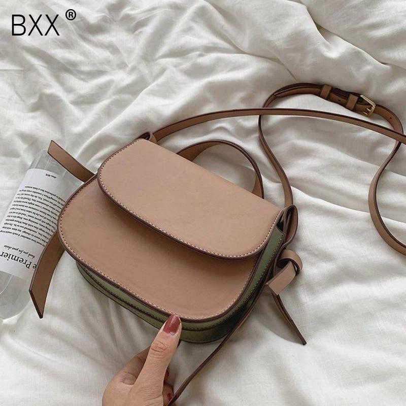 [BXX] Vintage Small PU Leather Crossbody Saddle Bags For Women 2021 Trend Shoulder Handbags Female Travel Hand Bag HO335