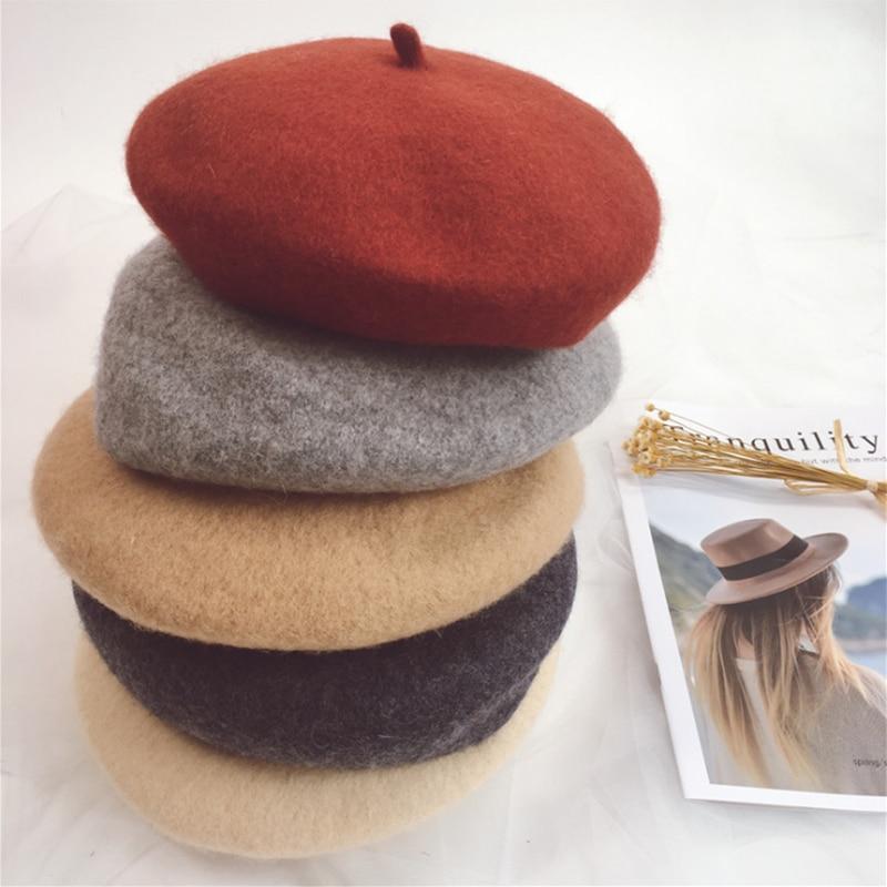 Parent-Child Hat Women Hat Wool Hat Painter Hat Fashion Retro Beret Hats Children Hat Winter Hats Wo