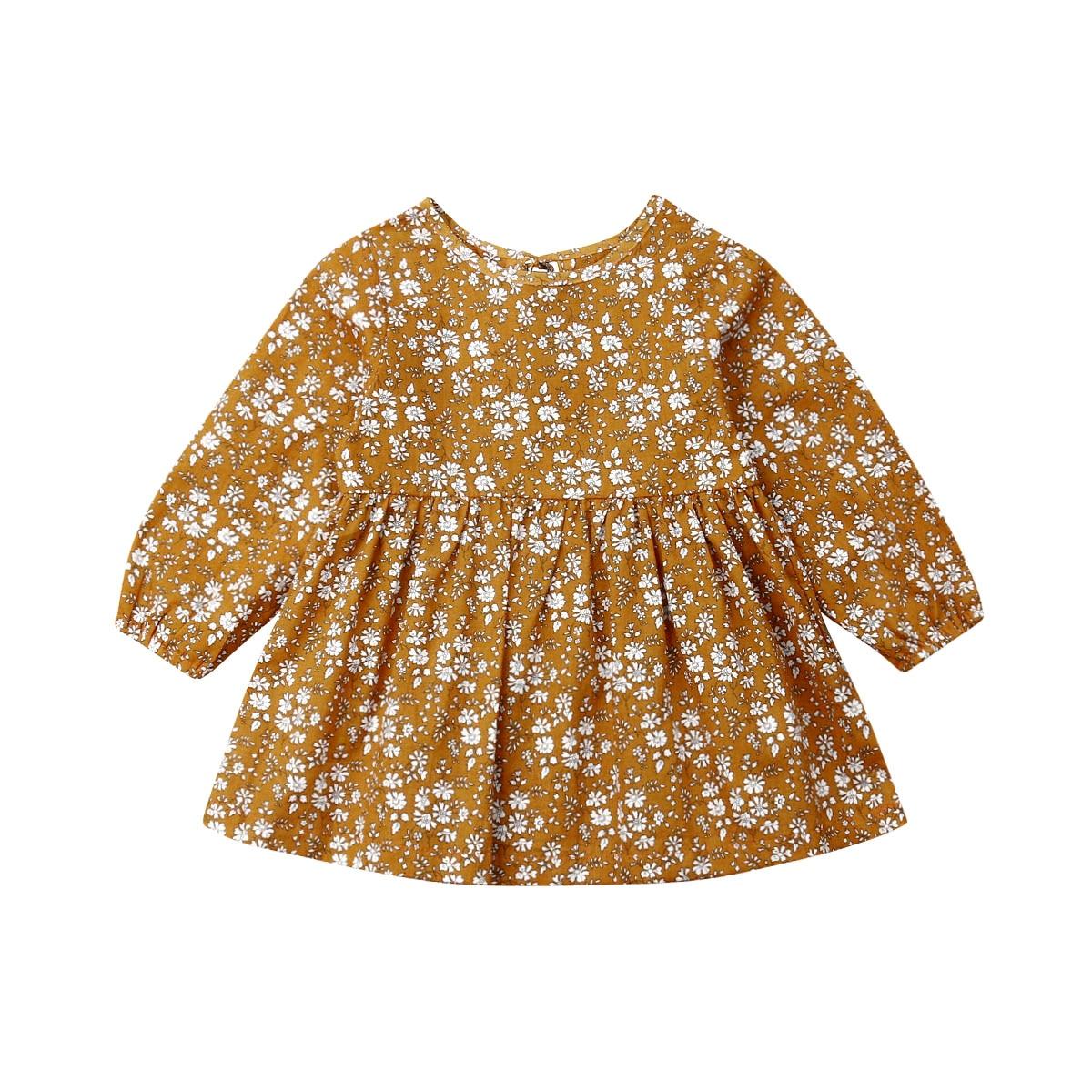 1-4T 幼児キッズベビーガール花服長袖フラワープリントドレスエレガントなかわいいラブリースウィート衣装