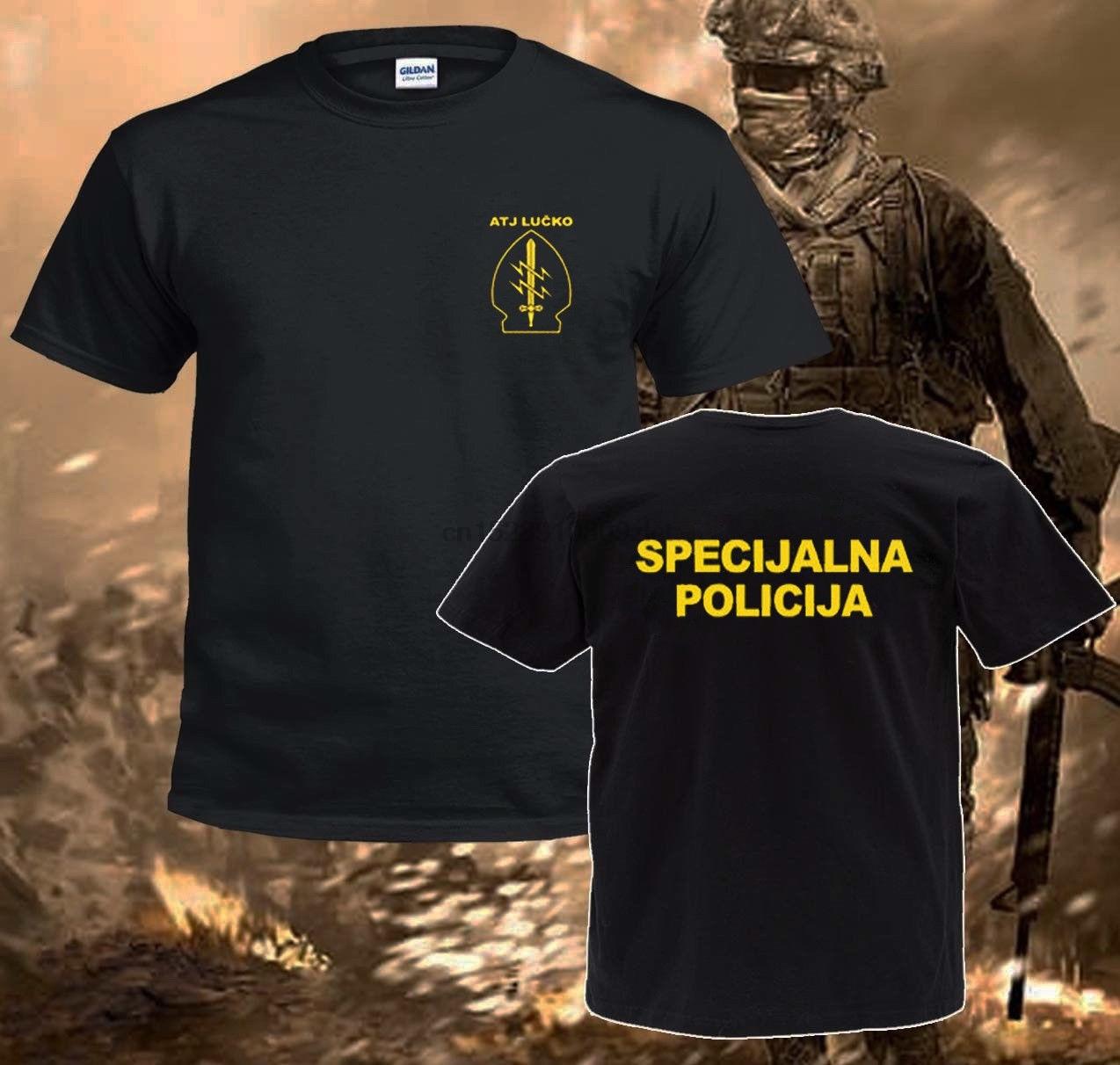 2019 moda venda quente atj lucko croata polícia contra terrorismo crocop preto t camisas camisa