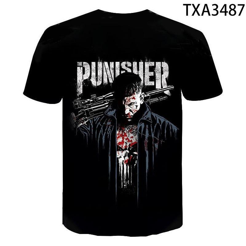 2020 new Mens Skull Casual T shirts Brand Punk Style 3D T-shirt Cool Fashion Men Tops Hip hop Punisher T-shirt