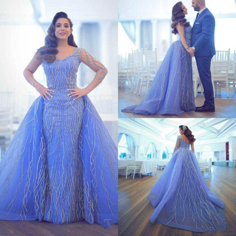 2020 Arabic Evening Dresses With Detachable Train V Neck Long Sleeve Sheath Prom Dress Party Appliqu