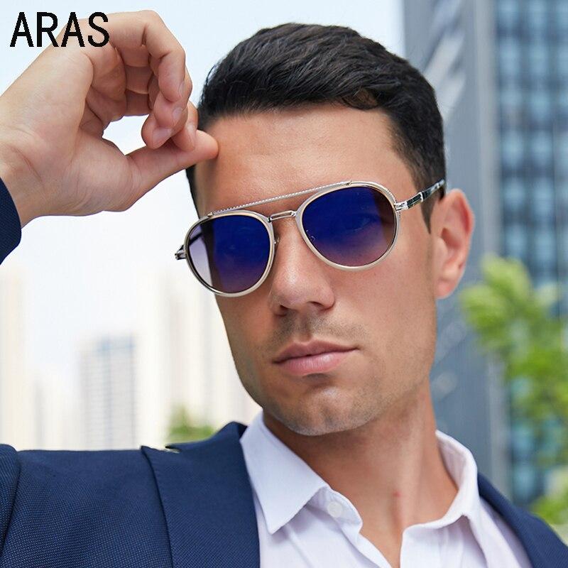 Fashion Sunglasses Men 2021 luxury Brand Driving Vintage Sun Glasses For Men Double Beam Retro Round