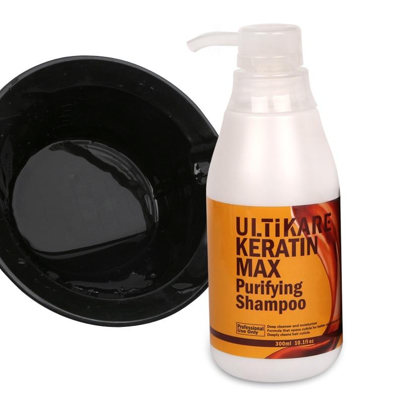 Купить с кэшбэком 300ml Brazilian 4 Formalin content Keratin Treatment+Purifying Shampoo Straighten and Repair Strong Cruly Hair+Free Salon Comb